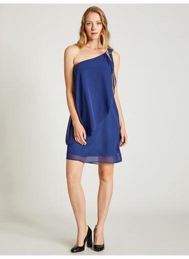 Vekem-Limited Edition Tek Omuz Payet Detaylı Şifon Elbise Lacivert